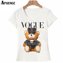 APOENGE VOGUE T Shirts Women 2017 Summer Short Sleeve Casual White Cotton Tee Shirt Femme Police Bear Teddy Tops Tees QN347(China)
