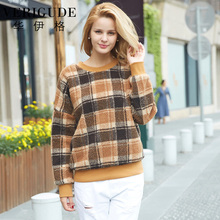 Veri Gude Faux Lamb Fleece Pullover Women Sweatshirts Plaid Pattern Loose Tops