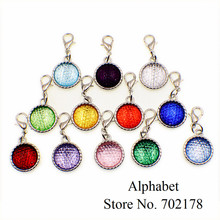 10pcs Birthstones Dangle Pendant with Lobster clasp Fashion Jewelry Fit Necklace bracelet key chains mobile phone straps(China)