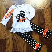 2017 new hot sale baby girls cat outfit halloween baby kids boutique baby girl kid halloween outfits sets with matching necklace(China)