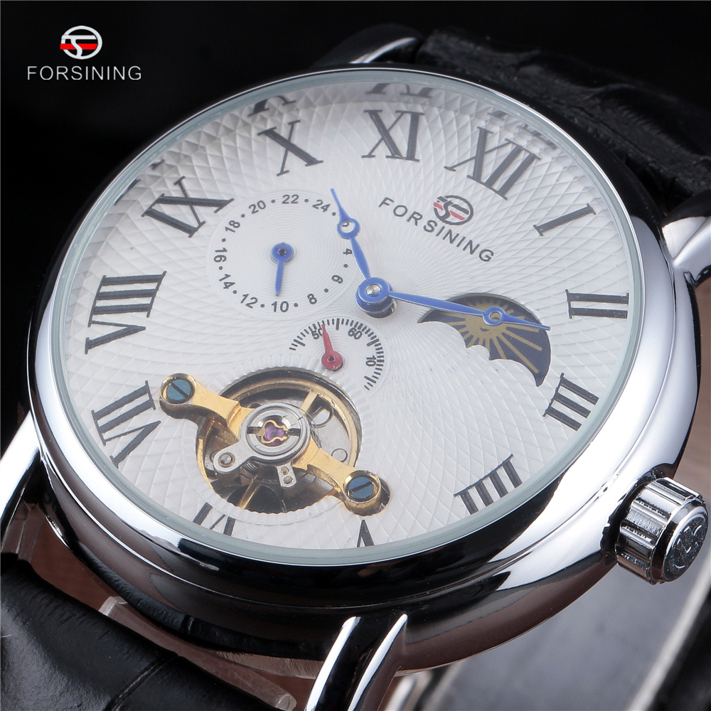 Fashion Casual New Forsining Luxury Roman Numeral Dail With Tourbillon Mens Wrist Watch Moon Phase Display Skeleton Watches Men<br>