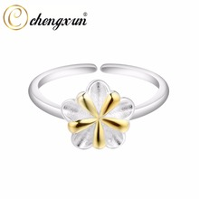 CHENGXUN Female 925 Sterling Silver Rings Women's Adorable Thumb Flower Leaf Ring for Bridal Wedding Engagement Ring