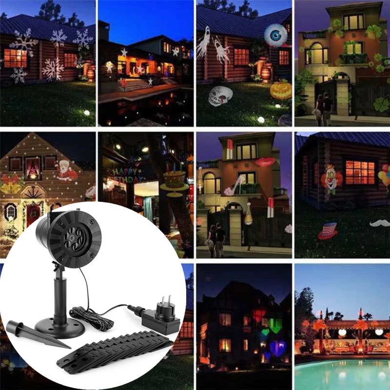 12 Patterns LED Stage Light Effect Christmas Laser Porjectors Disco DJ Light Snowflake Waterproof Garden Outdoor Landscape lamp<br>