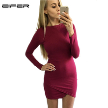 EIFER 2016 Brand Women Dress Party Robe Sexy Bodycon Office Casual Midi Slim Long Sleeve Basic Autumn D