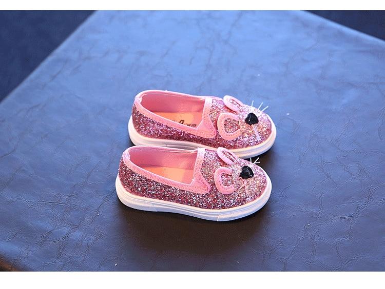 Cute Kids Girls Shoes 17 New Autumn Cartoon Bunny Cat Princess Flat Fashion Toddler Baby Girls Sneakers Children Casual Shoes 13