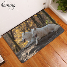 Homing Water Absorption in Front of Door Mats Animals Pattern Cozy Wolf Family Bear Fox Carpets Flannel Thin Living Room Carpets