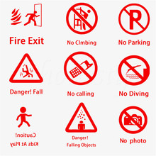 Warning Sign Sticker Words Commercial Painting Wall Decoration for School Company Hotels Red Vinyl Decal Decor