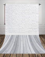 GREY wood floor studio photo background backdrop made of  Art fabric white bricks for newborn photography D-9713