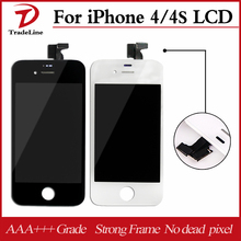 20pcs/lot OEM Front Glass Assembly+ LCD Digitizer Screen White or Black For Ecran iPhone 4 4s LCD