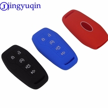 jingyuqin 10ps Remote 5 Buttons Silicone Car Key Cover Case For FORD EXPLORER Fusion Mustang F150 For Lincoln MKZ MKC Smart Key(China)
