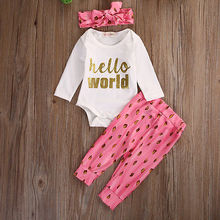 autumn fall hello world infant toddler Newborn Baby clothing Girls Long Sleeve Rompers+Pink Leggings+Headband 3pcs Outfits Set