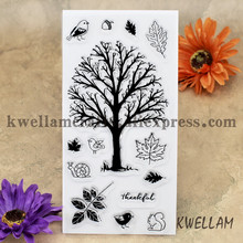 thankful Tree Bird Leaves Scrapbook DIY photo cards account rubber stamp clear stamp transparent stamp 10x20cm KW7011316