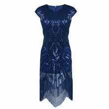 Great Gatsby Dress Women Sexy Sequin Dress O Neck Sequined Art Deco Flapper Dress 1920s Vintage Celebrity Party Dress MT1965(China)