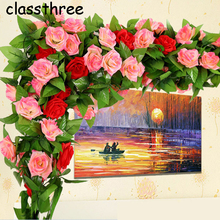 CIASSTHREE 250cm Fake Silk Roses Ivy Vine Artificial Flowers with Green Leaves For Home Wedding Decoration Hanging Garland Decor