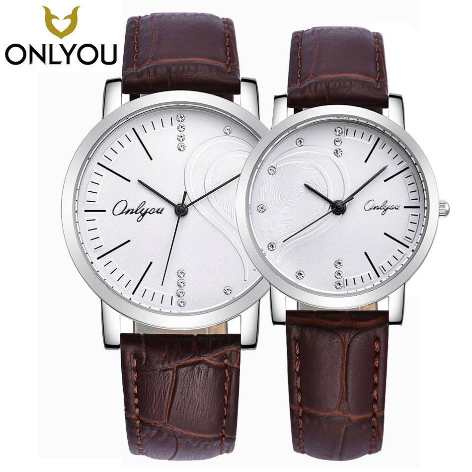ONLYOU 2017 Brand Lover Watches Women Casual Heart-shaped Surface Watch Men Genuine Leather Quartz Clock Wholesale<br>