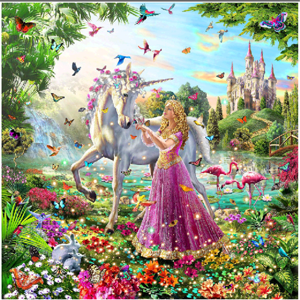 Home Decor 1 Set Animal Girl Unicorn Flamingo DIY Diamonds Painting Cross-Stitch Embroidery 3D Diamonds Set For Embroidery