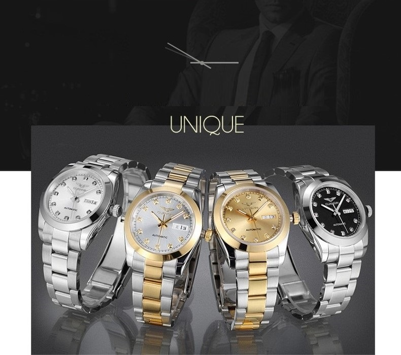 GUANQIN Gold Couple Watch Men Women Mechanical Watch Luminous Calendar Week Waterproof Rhinestones Automatic Lovers Watches (10)