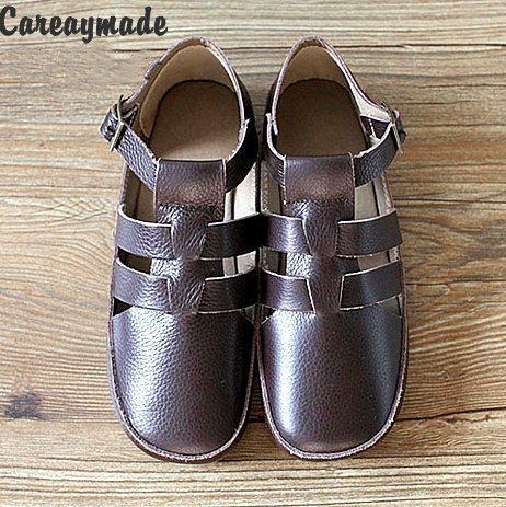 Careaymade-2017 Japan Koos the same paragraph Pure Handmade women genuine leather Sandals,mori girl casual shoes,coffee&amp;white<br>