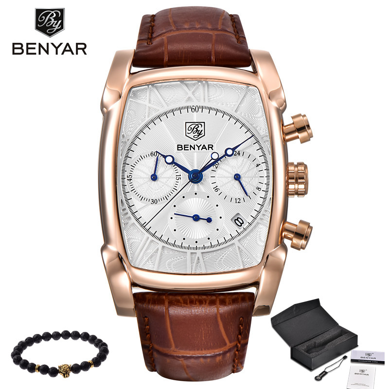 Relogio Masculino Mens Watches Top Luxury Brand BENYAR Chronograph Leather Quartz Watch Men Military Sport Luminous Wristwatch<br>