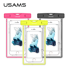 USAMS Universal waterproof phone bag transparent touchable pouch beach Underwater phone Bag for galaxy s6 s5 iphone 6/6s plus(China)