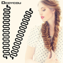 2 Pcs Women Lady Hair Braiding Accessories Braider Roller Hook With Magic Hair Twist Styling Bun Maker Hair Band