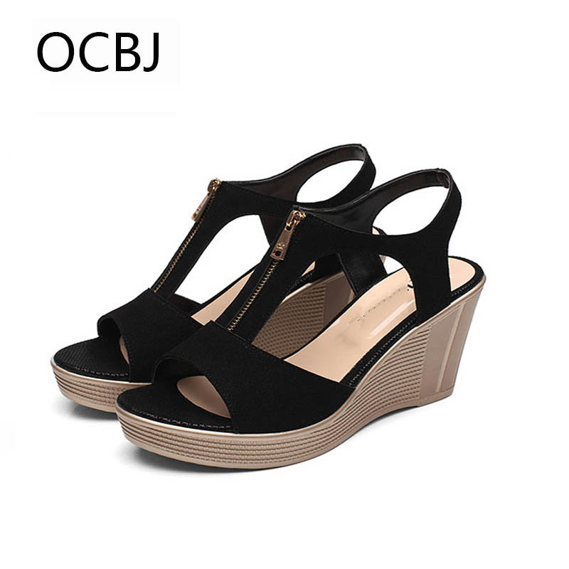 OCBJ 33-43 Plus Size Waterproof Genuine Lear High Heels Sandals For Woman 2017 New Fish Mouth Rome Shoes Ladies Summer Shoes<br>