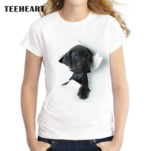 TEEHEART New Fashion Brand Cute Black Reveal Head Pet Dog Print O-neck Female T-shirt Summer Women Youth Hipster Tops Tees pc613(China)
