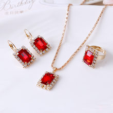 Classic Women Gold Color Red Blue Black White Crystal Rhinestone Jewelry  Sets Pendant Necklace Earrings Ring Set c27350191ec2