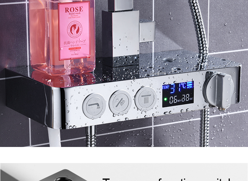 In Wall Exposed Touch Digital Shower Bath 3 Function Bathroom Shower Set Smart Intelligent Thermostat Waterfall Rain Shower (20)
