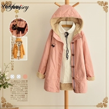 On 2014 the new winter Sen female lamb cashmere Hoodie embroidery warm in the thick long coat jacket 0708 stock