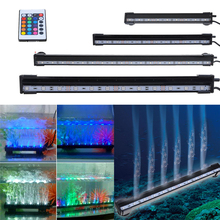 25-55CM Aquarium 9-21LED Light Fish Tank Submersible Airstone LED Bubble Light 24 Keys RC Remote Control Waterproof LED Stip(China)