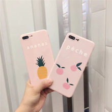 For iPhone 6 6s Plus 7 Plus Case Soft Silicone Pink Back Cover For iPhone 7 Case Peach Ananas Fruit Pattern Phone Cases   Z3