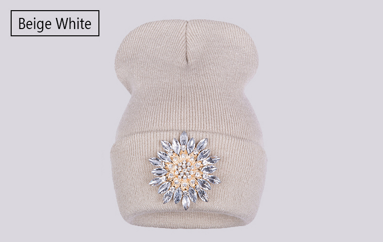 Ralferty 2018 Winter Hats For Women Knitted Luxury Flower Crystal Beanies Hat Female Skullies Caps Black Streetwear Gorras Gorro 9