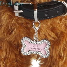 DogLemi Top Grand Dog Collars Fashion Bone RhinestoneIdentity Card Heart Pendant Pearl Pet Jewelry Dog ID Tag Mini Photo Frame