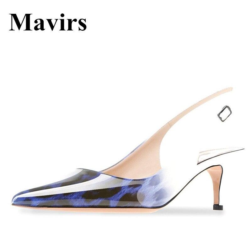 MAVIRS Brand 2018 Blue Leopard Patent 6.5 CM Kitten Heels Women Pumps Pointed Toe Dress Bride Stilettos Shoes US Size 5 - 15<br>