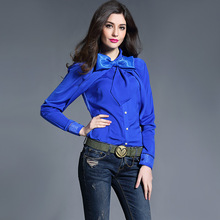 2017 New Fashion Blouses Spring Summer Women Elegant Bow Collar Lace Patchwork White Blue Black Color Shirt Silk Chiffon Blouse