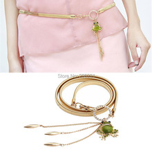 New Women Sexy Gold Belly Chain Waist Chain Belt With Frog Pendant Stretch Long Crystal Opal Frog Waist Chain Belt Jewelry
