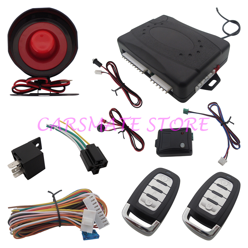 Universal Car Alarm System Remote Trunk Release Anti-Robbery Car Alarm with Shock Sensor &amp; Override Switch Carsmate<br><br>Aliexpress