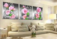 2017 diy diamond painting pink roses pictures of rhinestones 3pcs round cross stitch needlework home decorative relative gifts