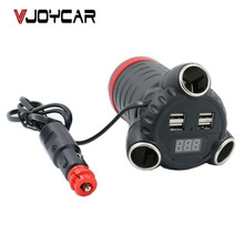 VJOYCAR C30T The most powerful Car Adaptor gps tracker Voltage Led Display 3 Cigarette Lighter Socket Adaptor 4 USB Output 5A