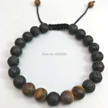 Buy Lava Charm Bracelets Black Volcanic Lava Stone Tiger Eye 8mm Beaded bracelet Women Fashion personality Buddha Men Jewelry for $1.40 in AliExpress store