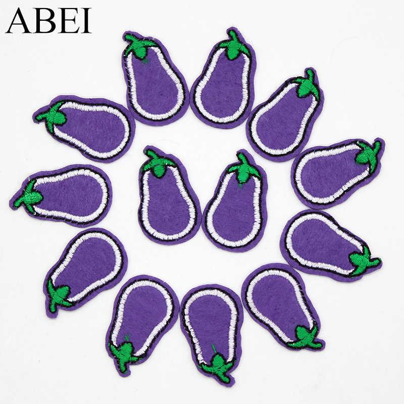 3a07d2cce42a лот мультфильм баклажаны Нашивки Вышитые Прекрасный мини овощи наклейки для  одежда для