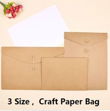 promotional gifts 3 Size.retro Manual Kraft Paper File bag.diy fun Green Document bag.clean up bag.retail great deal
