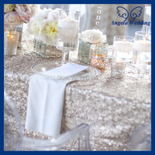 SQN001Y New cheap Hot sale fancy metallic sequence wedding 6ft rectangle 90''*132'' silver sequin table cloth