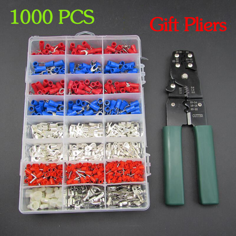 TKDMR 1000pcs Wire Connectors Cold Shrink crimp Connector 24in 1 Waterproof Kit Cold Pressing Copper Terminals, gift pliers!<br>