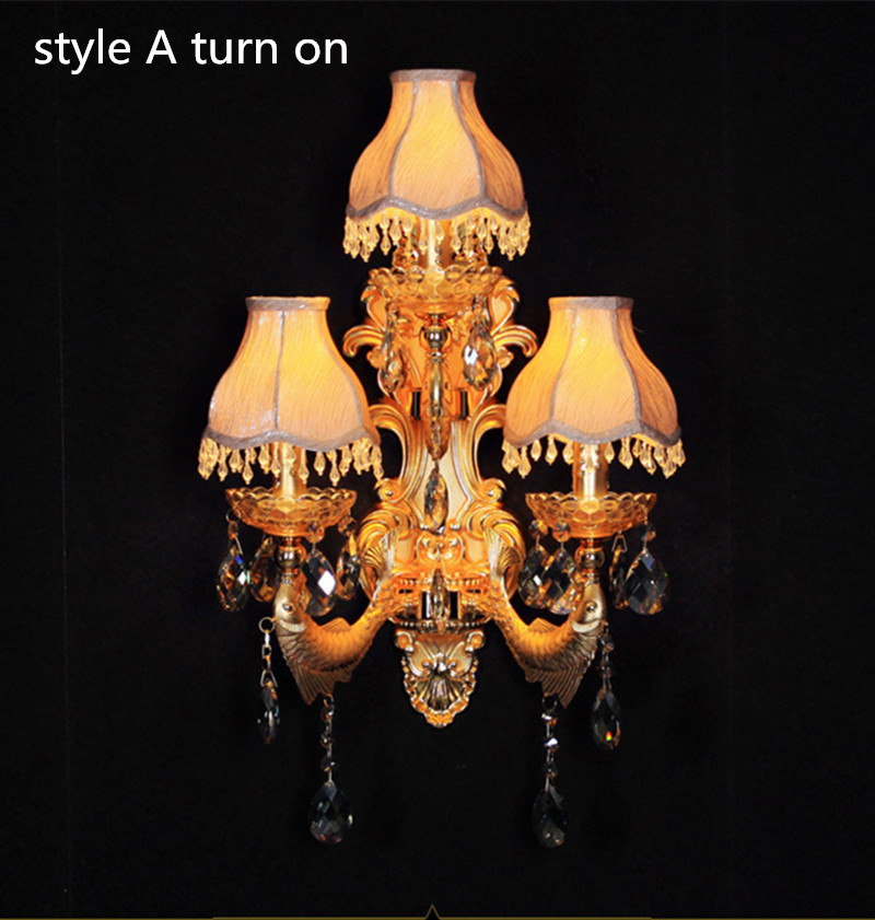 Hallway large gold wall lights modern Indoor crystal wall lamp with fabric lampshade LED wall Sconce restaurant  bracket light<br><br>Aliexpress