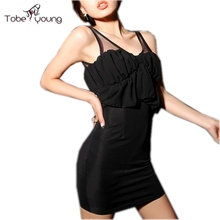 LAST ONE Asian L Women's Sexy Splice Mesh Backless Ruffles Bodycon Dress Club Party Summer Dresses