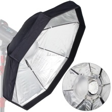 8-Pole 80cm Octagon Silver Foldable Beauty Dish Softbox with Bowens Mount for Studio Strobe Flash Light with Portable Bags