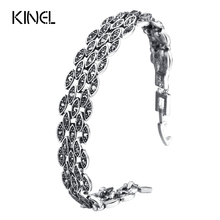 Kinel Bright Black Crystal Bracelet For Women Antique Silver Color Little Eye Link Bracelets Charm Vintage Jewelry(China)