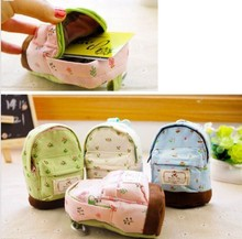 Floral Coins Bag Pencil Pen Case Korean Big Capacity Canvas Backpack Style Kids Gift 13x10x4cm Practical Curtain Storage Bag